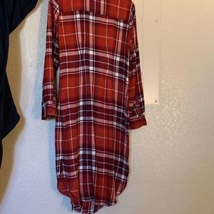 Long red, super soft, casual flannel dress